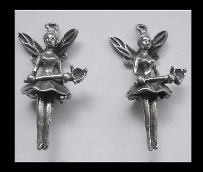 PEWTER CHARM #225 x 2 Fairy (30mm x 15mm) 3D 1 bail double sided