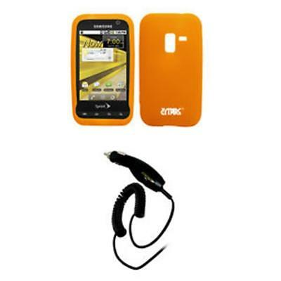 EMPIRE Sprint Samsung Conquer 4G Orange Silicone Skin Case Cover + Car Charger (