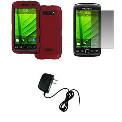 EMPIRE BlackBerry Torch 9850 9860 Red Rubberized Hard Case Cover + Screen Protec