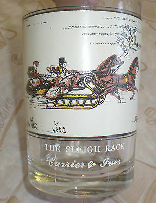 "1981 Currier & Ives ""The Sleigh Race"" Arby's Collector's Series 12 oz Glass"