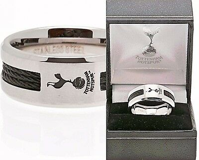 Tottenham Hotspur Spurs Fc Stainless Steel Black Inlay Band Ring In Gift Box