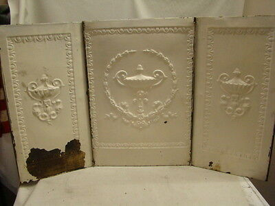 Antique Late 1800's Tin Ornate Summer Three Paneled Fireplace Liner A