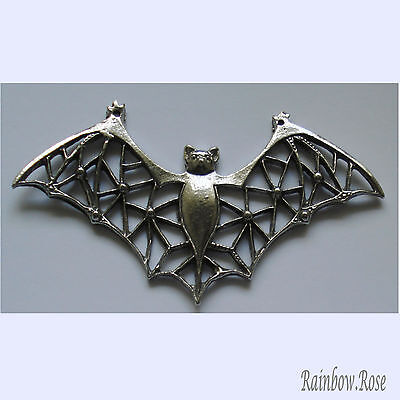 PEWTER CHARM #411 BAT with filigree wings stunning 2 bails 75mm(w) x 40mm(h)