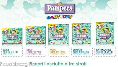 PAMPERS BABYDRY PANNOLINI PAMPERS BABY DRY PANNETTI  taglia 3 MIDI  4 - 9 Kg