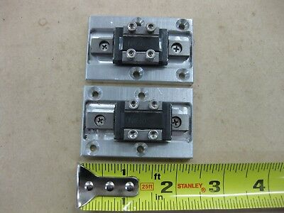 """Lot THK Linear Guide LM Rail 2 RSR9ZM Carriage Bearing Blocks 2.5"""" 65mm Fixture"""