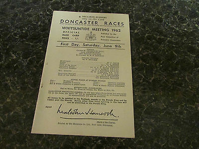 DONCASTER  1962  racecard  WHITSUNTIDE  Meeting