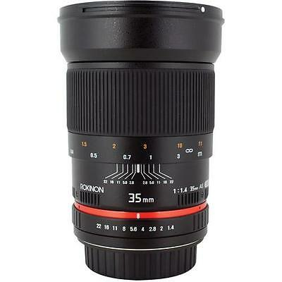 Rokinon 35mm f/1.4 Wide-Angle US UMC Asph. Lens for Nikon w/ Focus Confirm Chip
