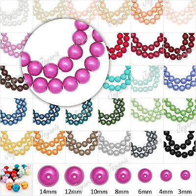 Fashion Glass Pearl Loose Space Round DIY Beads 3/4/6/8/10/12/14mm Choose