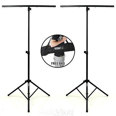 2x T bar Lighting Heavy Duty Stand DJ Disco 4 Light T-Bar Stand Gorilla Stands