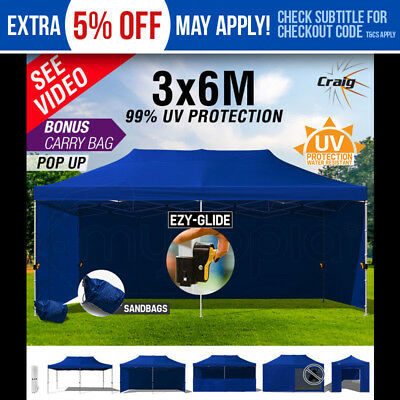 Craig 3x6m Gazebo Outdoor Folding Marquee Navy Blue Tent Canopy Pop Up Party