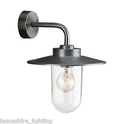 Vancouver Outdoor Wall Light In Stainless Steel IP44 Station Style Lamp 60W