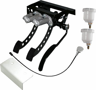 Universal Top Mount Cockpit Fit Cable Clutch Race Pedal Box Silver Kit OBPVIC23