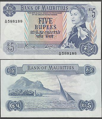 Mauritius 5 Rupees Banknote 1968 About Uncirculated Condition Cat#30-A-8188