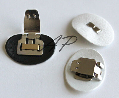 12pcs of Shoes Clips with Synthetic Leather Pad Backing in White and Black