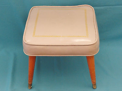MID CENTURY MODERN  ATOMIC SPACE AGE ERA SQUARE VINYL SEAT STOOL w/ GILT DECOR