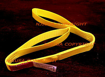"""1/"""" x 4/' 2-Ply Yellow Poly Web Lifting Sling Reinforced Eye Tow Strap EE2-901x4"""
