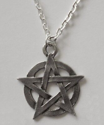 Pewter Necklace on Chain #114 PENTAGRAM 25mm PENTACLE