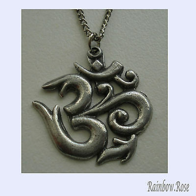 Pewter Necklace on Chain #148 Om Aum Symbol - 30mm
