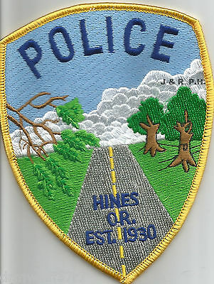 """Hines - 1930, OR  (3.75"""" x 5"""" size)  shoulder police patch (fire)"""