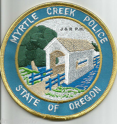 "Myrtle Creek, OR  (4"" round size)  shoulder police patch (fire)"