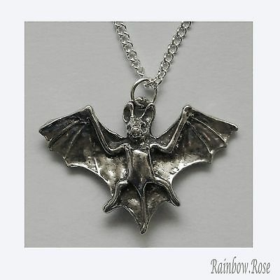 Chain Necklace #270 Pewter BAT (25mm x 18mm) Silver Tone
