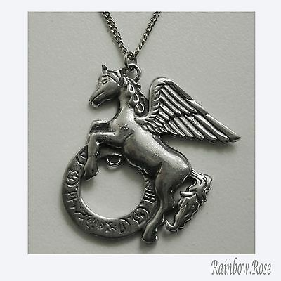 Pewter Necklace on Chain #306 Pegasus Alicorn Unicorn - chain 45cm long