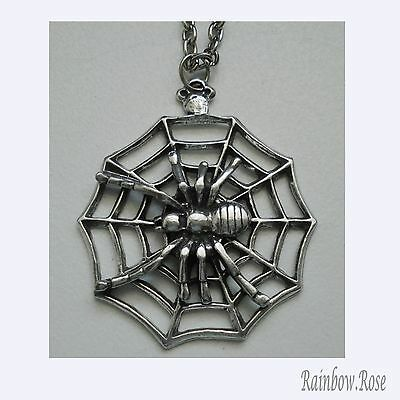 Chain Necklace #340 Pewter Spider on Web - (40mm)