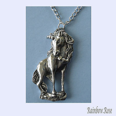 Chain Necklace #374 Pewter UNICORN (35mm x 15mm) Silver Tone