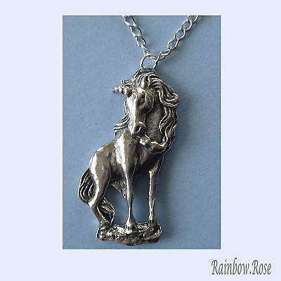 Pewter Necklace on chain #374 UNICORN - Silver Tone