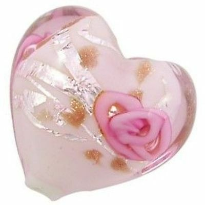 4 pieces Lampwork Heart Glass Beads - 20mm - Pale Pink - A4186