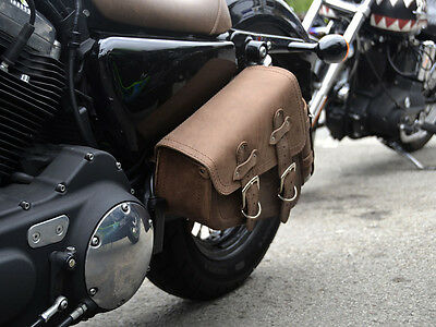 Harley Davidson Sportster Brown Leather Single Left Side Pannier Saddle Bag