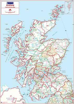 Postcode Area Wall Map of Scotland - Face Laminated Write-On Wipe-Off
