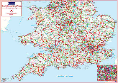 Postcode Area Wall Map South of England Wales Face Laminated Write-on Wipe-Off