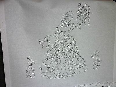 Printed Embroidery pair chair back cover white 100% cotton Crinoline Lady CS0081