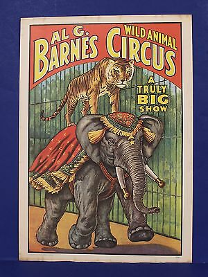 AL G Barnes Wild Animal Poster Circus World Museum 1960 MInt 13 x 19 w Elephant