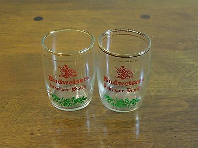 Vintage Set of 2 Budweiser Anheuser Bursch Gold Trimmed Glass Cups
