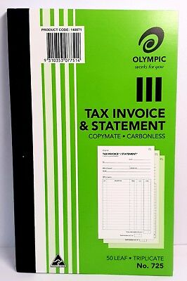5x Olympic #725 Triplicate Tax Invoice & Statement Book 200x125 50 Leaf SP07751