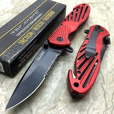 Tac-Force Red Aluminum Outdoor Rescue Survival Hunting Pocket Knife TF-702RD