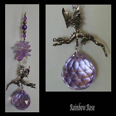 Suncatcher #25 Pewter 3D Dragon Purple / Lilac 40mm Crystal Ball