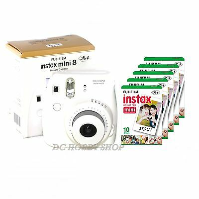 Fuji instax mini 8 white Fujifilm instant camera + 50 film