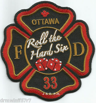 "Ottawa  Station-33, Ontario, Canada  ""Roll Hard Six"" (4"" x 4.5"" size) fire patch"