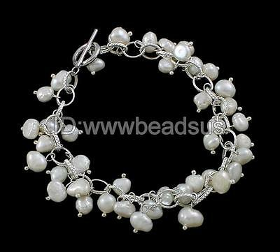 Elegant Natural White Freshwater Cultured Pearl Bracelet With Brass & Zinc Alloy