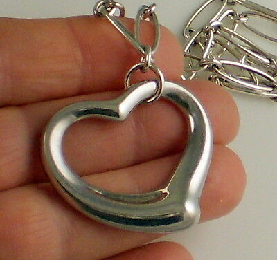 Tiffany & Co  Stunning ELSA PERETTI Large Sterling Silver Open Heart Necklace