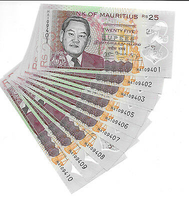 Mauritius 10 X 25 Rupees Polymer Unc Banknote Wholesale 2013 Pick New