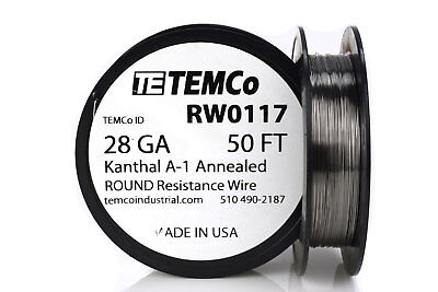 TEMCo Kanthal A1 wire 28 Gauge 50 Ft Resistance AWG A-1 ga