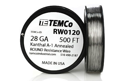 TEMCo Kanthal A1 wire 28 Gauge 500 Ft Resistance AWG A-1 ga