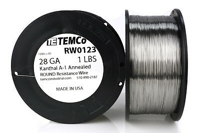 TEMCo Kanthal A1 wire 28 Gauge 1 lb (2609 ft) Resistance AWG A-1 ga