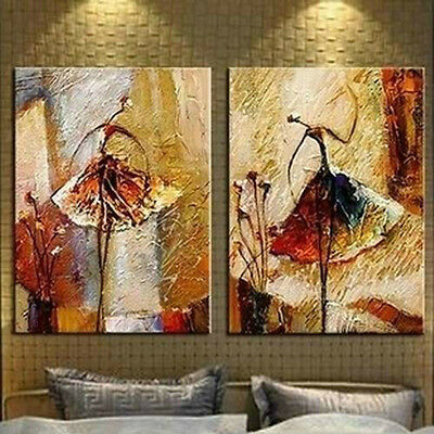 Large Modern Abstract Wall Decor Art Oil Painting On Canvas 2pc