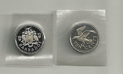 1973 BARBADOS 10 Cents Coin Seagull Bird Proof