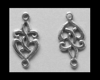 PEWTER JOINER #J26 x 2 CELTIC TINY DROP KNOT (10mm x 20mm) Jewelry 2 bails